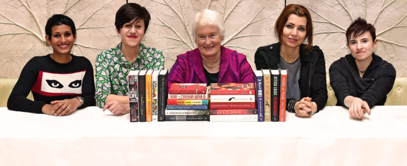 8th March 2016: The Baileys Women's Prize for Fiction announces its 2016 longlist as chosen by this year's judging panel (L-R): Naga Munchetty, Tracey Thorn, Margaret Mountford (Chair), Elif Shafak and Laurie Penny. The Prize celebrates excellence, originality and accessibility in writing by women