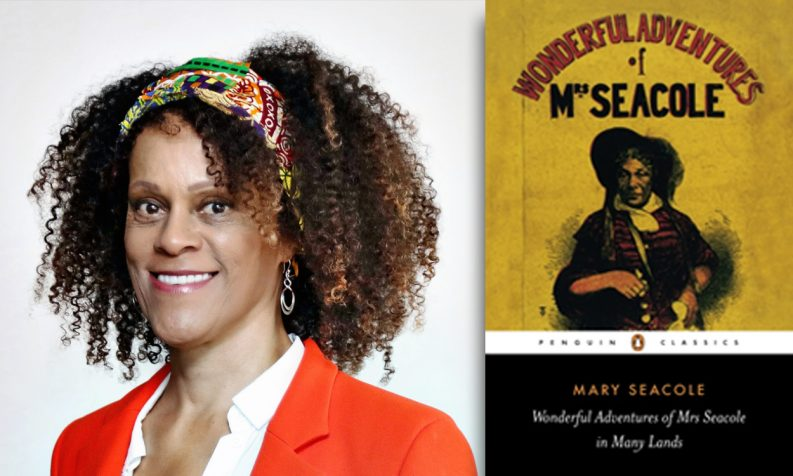 Photo of Bernardine Evaristo and a copy of Wonderful Adventures of Mrs Seacole in Many Lands by Mary Seacole