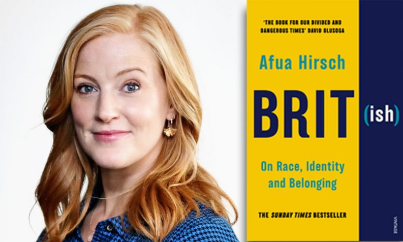 Photo of Sarah-Jane Mee and a photo of Afua Hirsch's book Brit(ish)