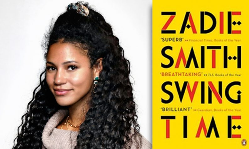 Photo of Vick Hope and a copy of Zadie Smith's novel Swing Time